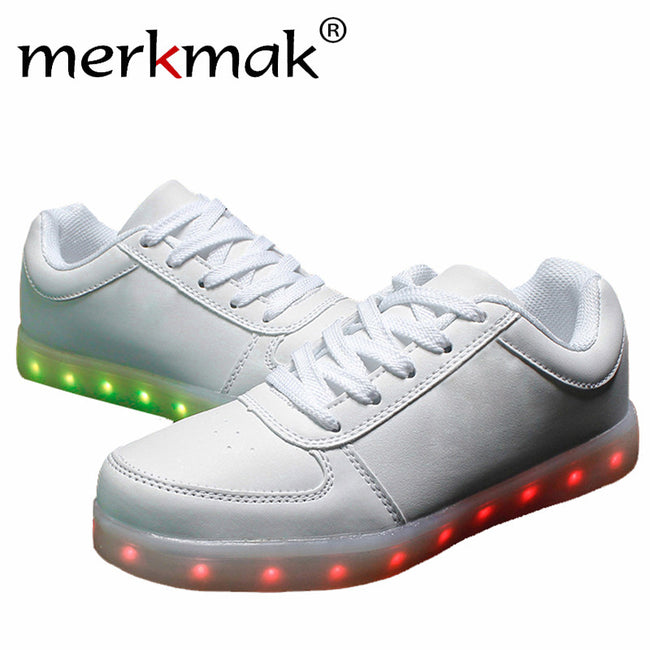 New 7 Colors Luminous Led Light Shoes Men Fashion USB Rechargeable Light Led Shoes For Adults Casual Shoes Big Size 35-46