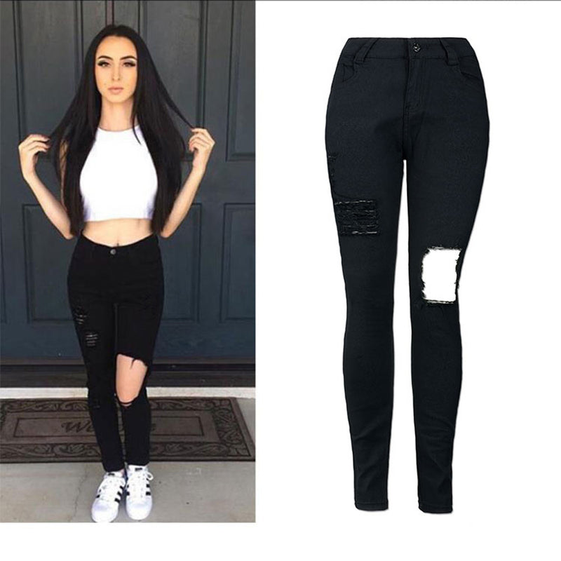 2016 Cotton Blend High Elastic Imitate Jeans Woman Skinny Pencil Pants Slim Ripped Jeans For Women Black Denim Ripped Jeans