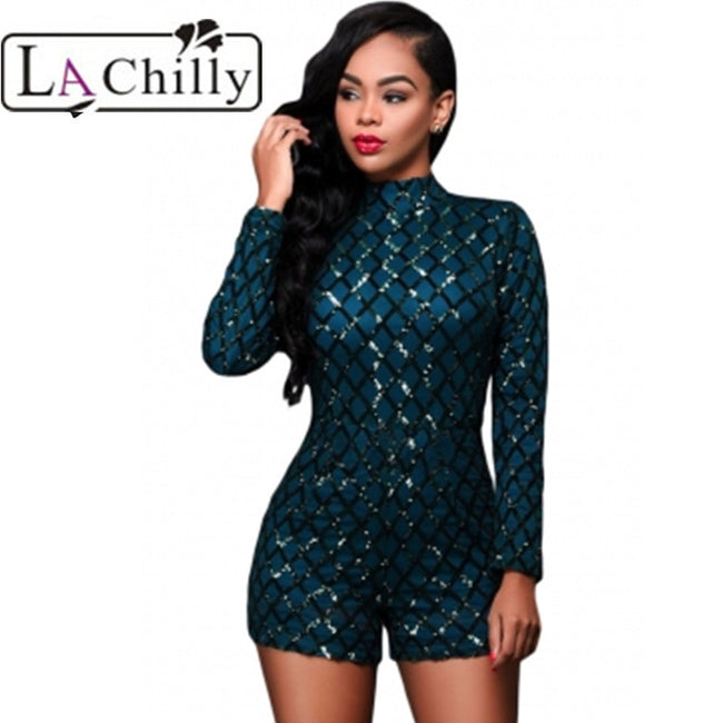 La Chilly macacao feminino Zip High Neck Bodysuits Dark Green Diamond Sequins Long Sleeves Romper short women' Jumpsuit LC64189