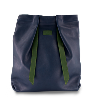 Open image in slideshow, Convertible Backpack Navy Blue and Green Olive