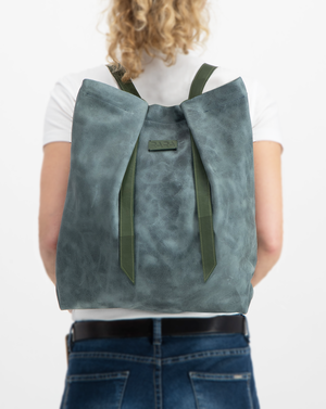 Convertible Backpack Light Blue Eroded and Green