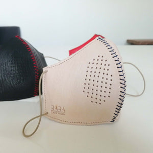 Leather face mask with removable multi-layered material filters
