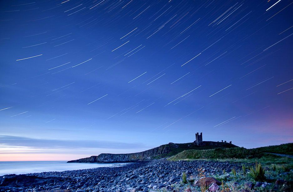 Dunstanburgh Castle star trails Ref-SCDCST