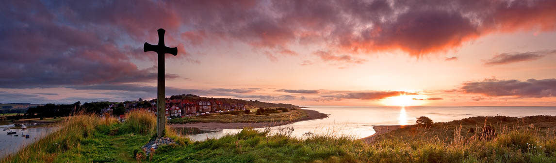 Alnmouth Church Hill Northumberland panoramic photograph