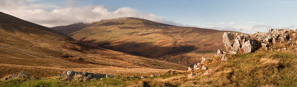 Cheviot and Long Crags Northumberland panoramic photograph