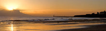 Tynemouth Longsands beach dawn panoramic photograph