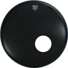 "Remo Powerstroke3 Ebony 24"" Bass Drum Head w/ Offset Hole"