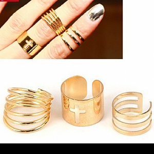 Set Of 3 Designer Gold Rings