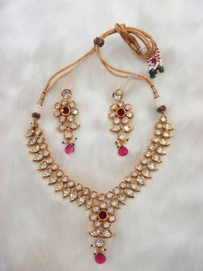 Ruby Kundan Necklace With Matching Earrings