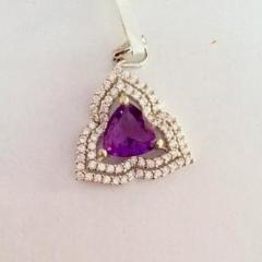 925 Sterling Silver Amethyst Pendant