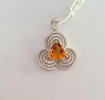 Sparkling 925 sterling silver beautiful color stone pendant (yellow)