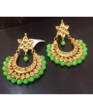 Colorful Kundan Chandbali Earrings Pair