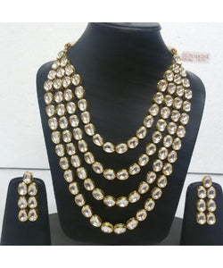 Wedding Bridal Kundan Four Layerd Necklace With Earrings