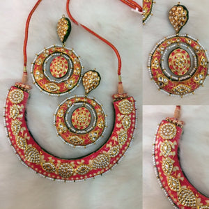 Jaipuri Pink Kundan Meena Hasli With Matching Chandbali Earrings