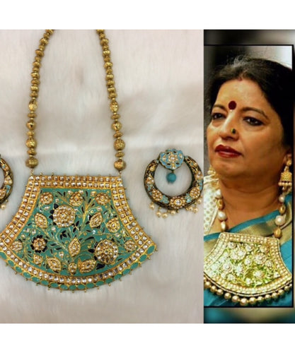 Bollywood Turquoise Big Pendant With Chandbali Matching Earrings