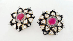 Victorian Style Earrings with Ruby in Centre