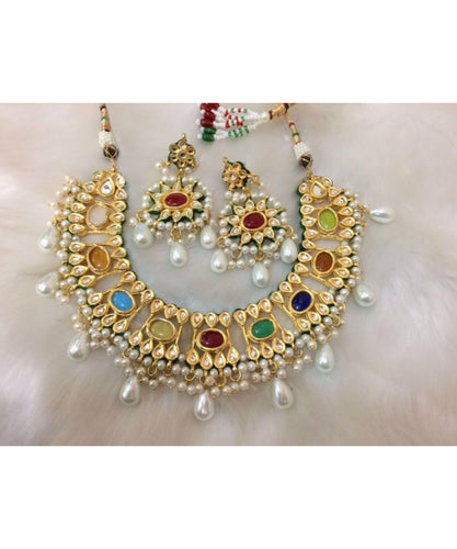 Beautiful Pearl Kundan Meena Bridal Set