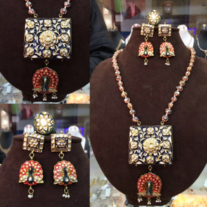 Beautiful Kundan Meena Peacock Necklace Set