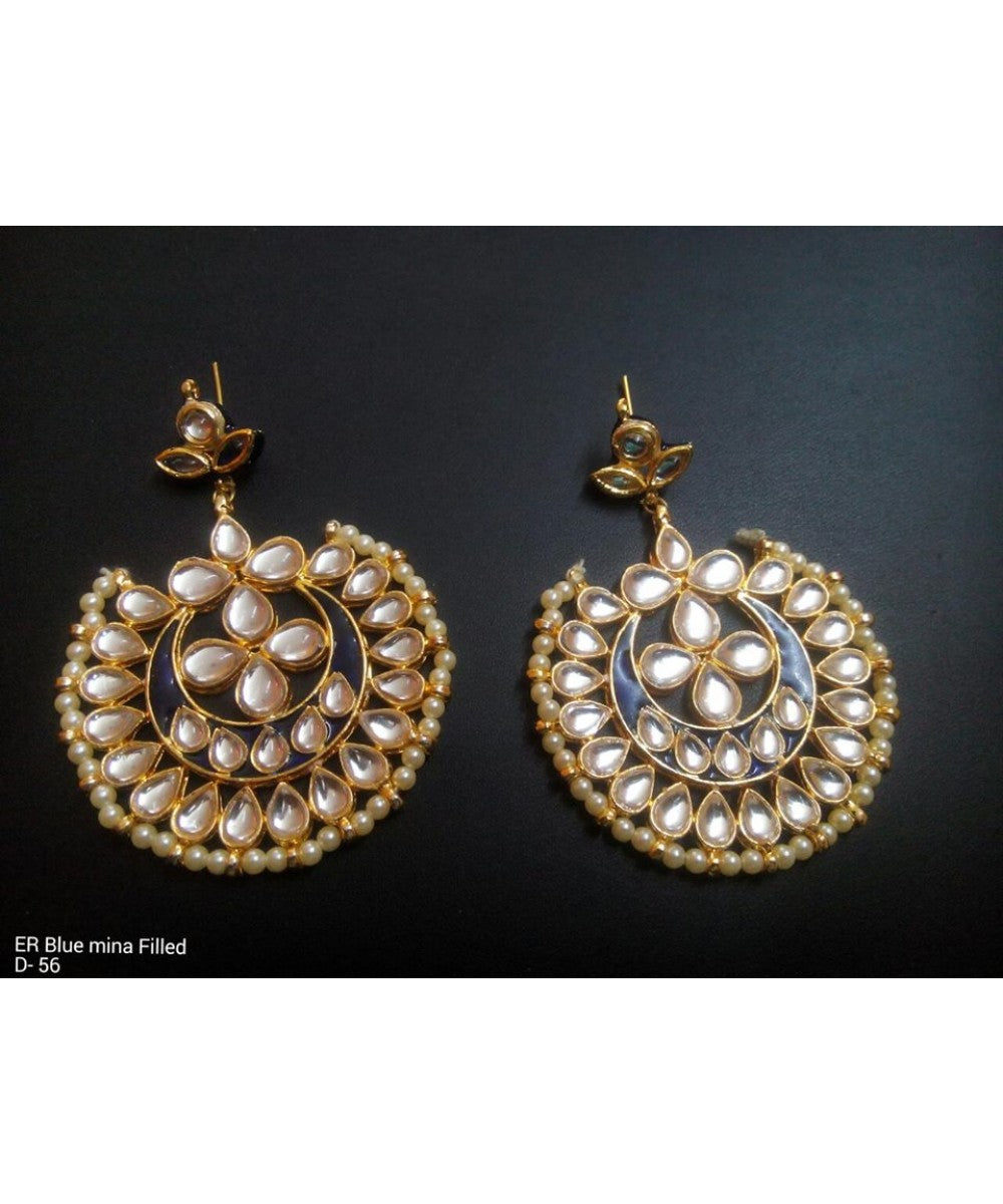 Kundan Meena Work Chandbali Earrings Pair