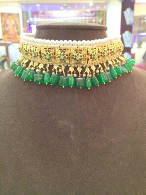 Hyderabadi Emerald Choker With Matching Earrings