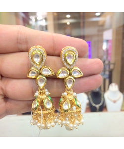 Kundan Jhumka Earrings Pair
