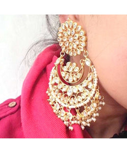 Gold Plated Kundan Chandbali Earrings Pair