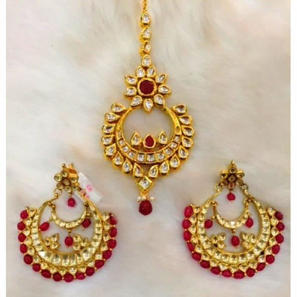 Ruby And Kundan Maangtikka Set With Matching Earrings