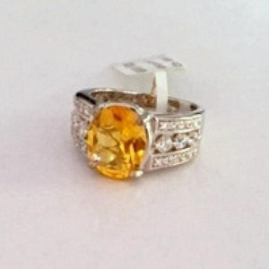 Classic 925 Sterling Silver Yellow Topaz Ring