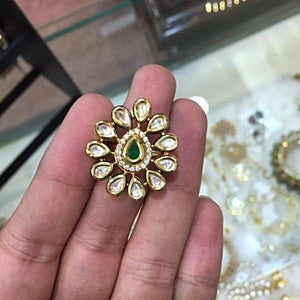 Gold Plated Kundan Ring