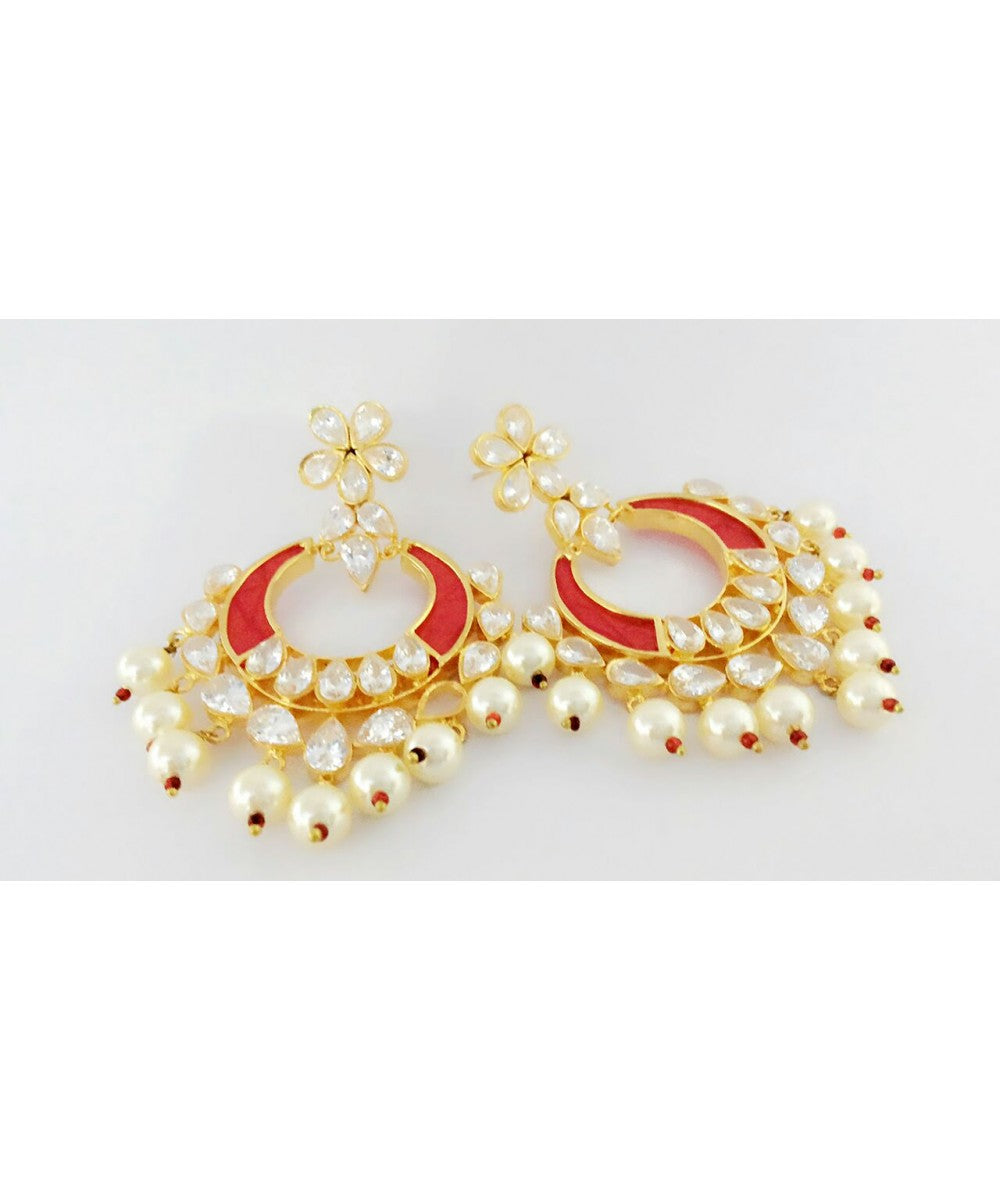 Ruby Kundan Fine Earrings Pair