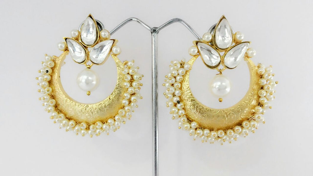 Kundan And Gold Plated Chandbali Earrings Pair