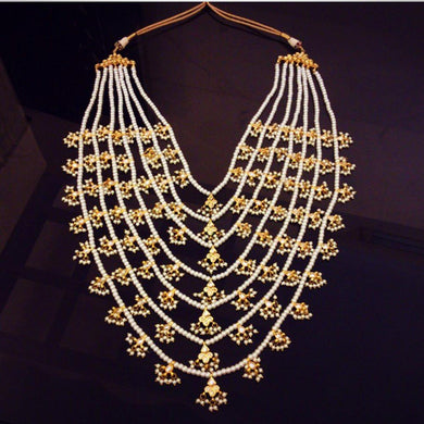 Beautiful Beaded Necklace with Hanging Pearls