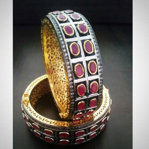 Victorian Look Ruby Bangle Pair