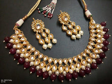 Classic Ruby Beaded Necklace with Matching Earrings