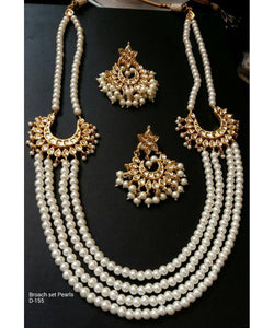 Beautiful Pearls Mala Necklace Set With Matching Earrings