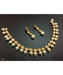 Beautiful Kundan Work Colorful Necklace With Matching Earrings