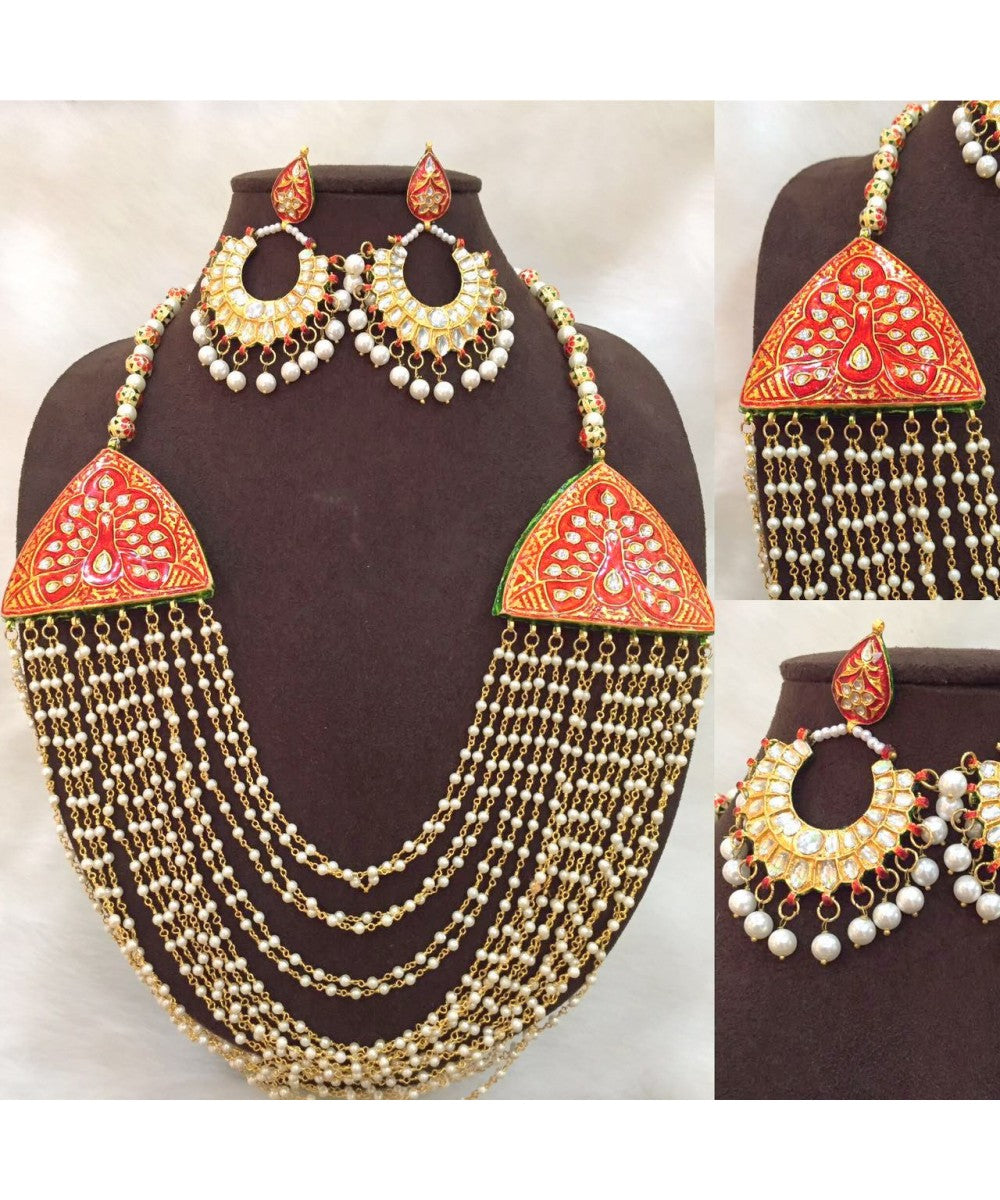 Exquisite Beaded Necklace Handcrafted With Red Meenakari Work With Matching Earrings