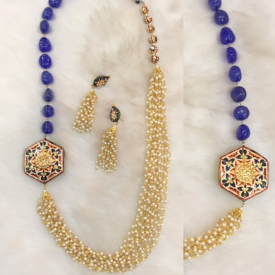 Classy Blue Sapphire Necklace With Matching Earrings