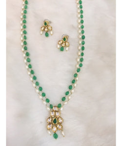 Beautiful Emeralds And Pearls Necklace Set