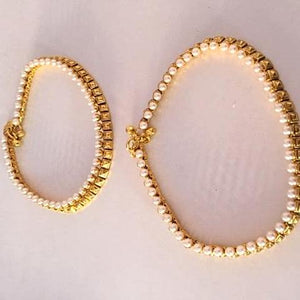 Gold Plated Pearls Anklet Pair