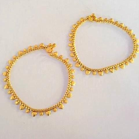 Tribal Look Gold Plated Anklet Pair
