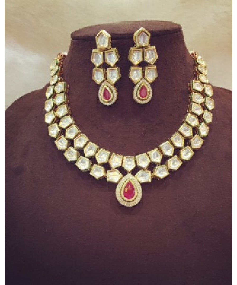 Charming Ruby Bridal Necklace Set