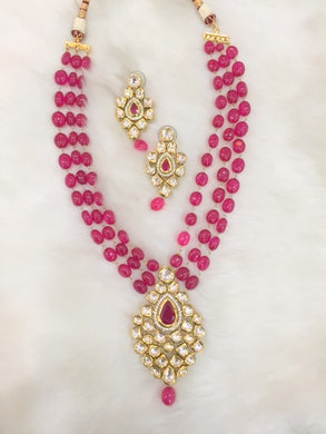 Natural Semi Precious Ruby Beaded Bridal  Set