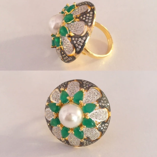 Emerald Victorian Cocktail Ring With Adjustable Finger Size