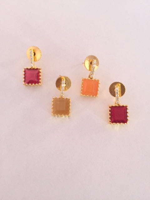 Colorful Studd Type Earrings Pair