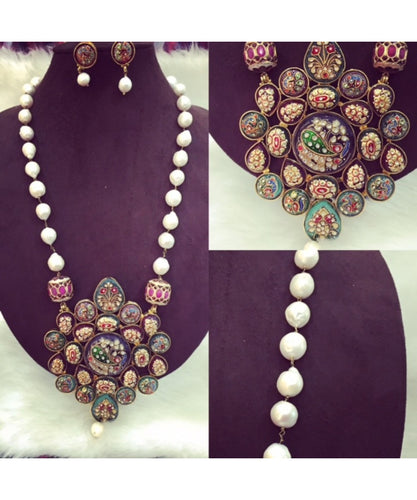 Tanjore Long Necklace With Earrings For Perfect Traditional Outfits