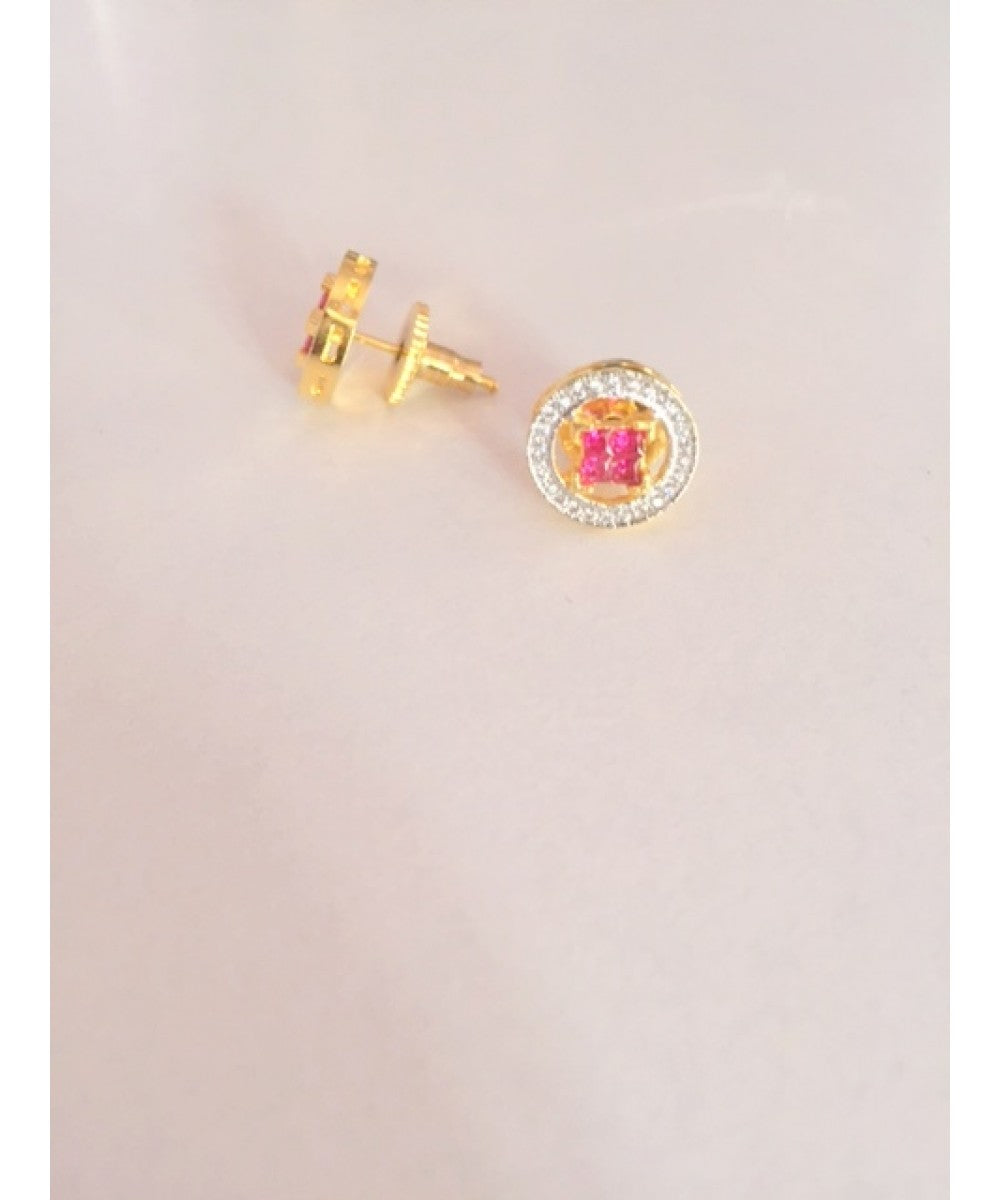 Copy of Gold Plated Ruby Earrings Pair