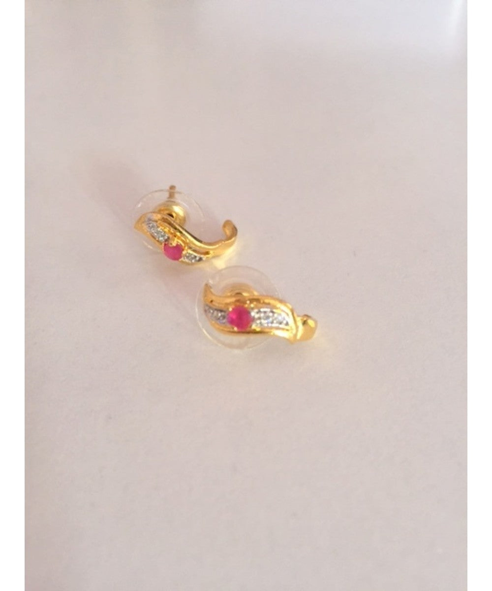 Gold Plated Ruby Earrings Pair