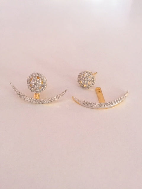 Moon Style Earring Pair with Yellow Gold plating