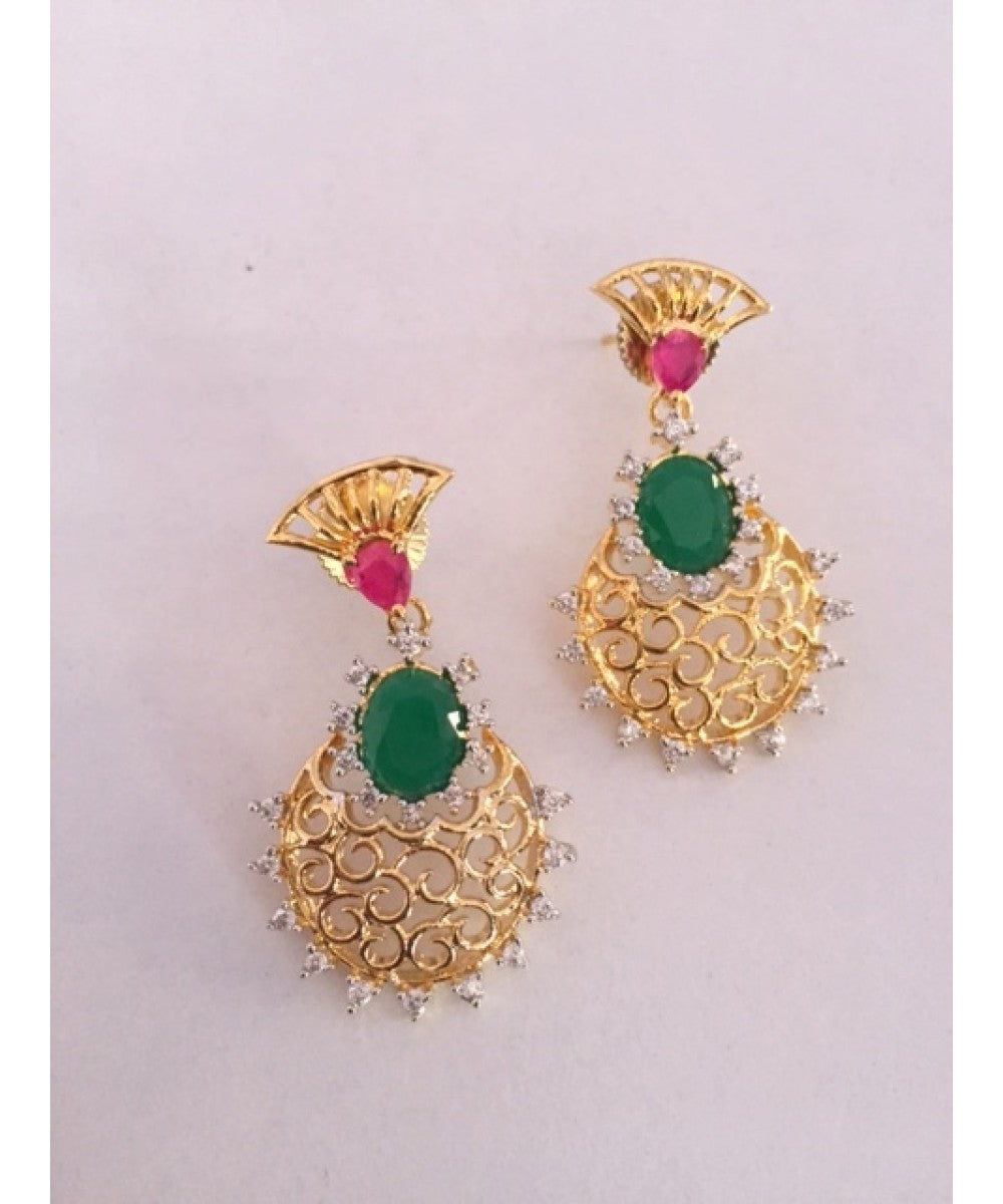 Beautiful Emerald And Ruby Earrings Pair